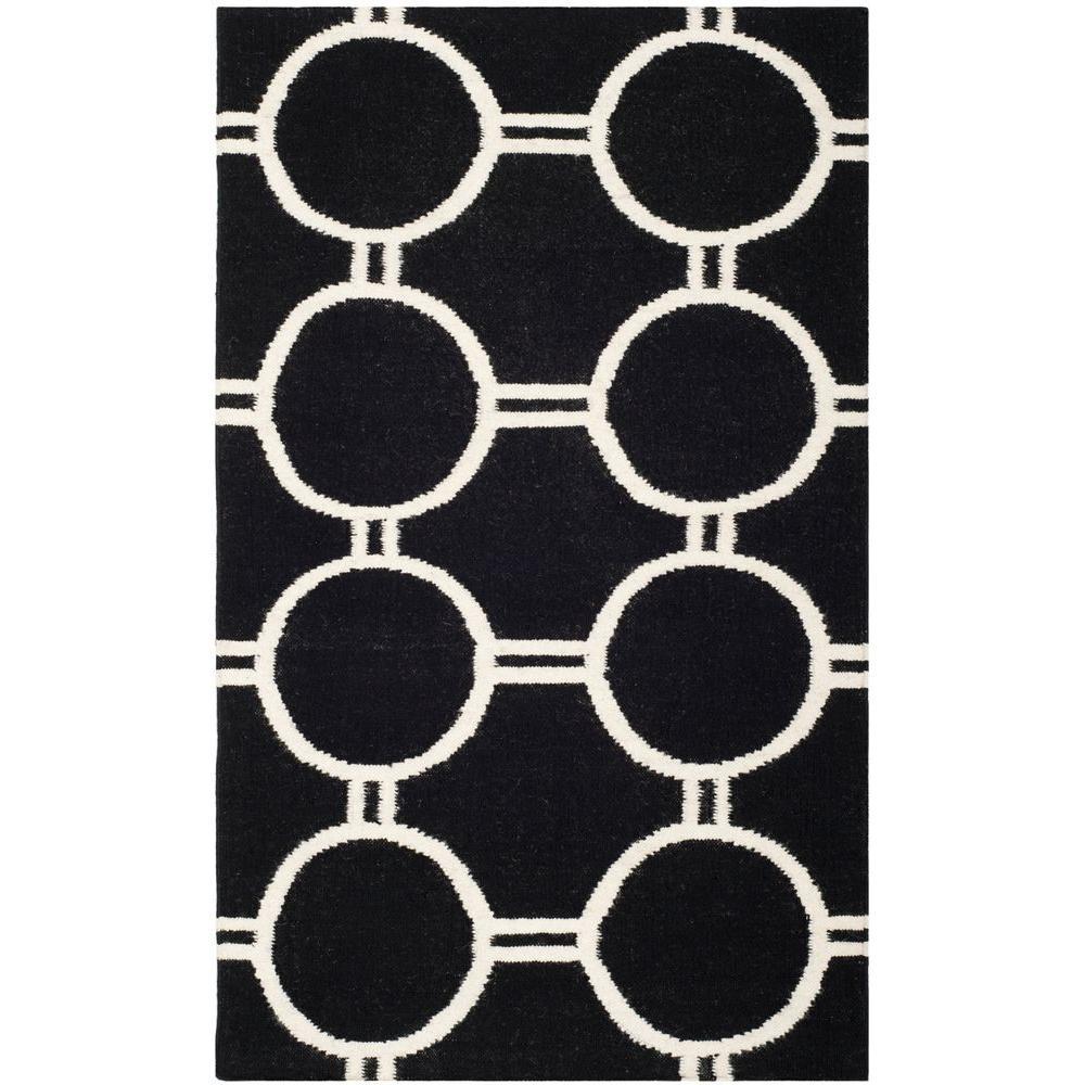 Safavieh Dhurries Black/Ivory 3 ft. x 5 ft. Area Rug