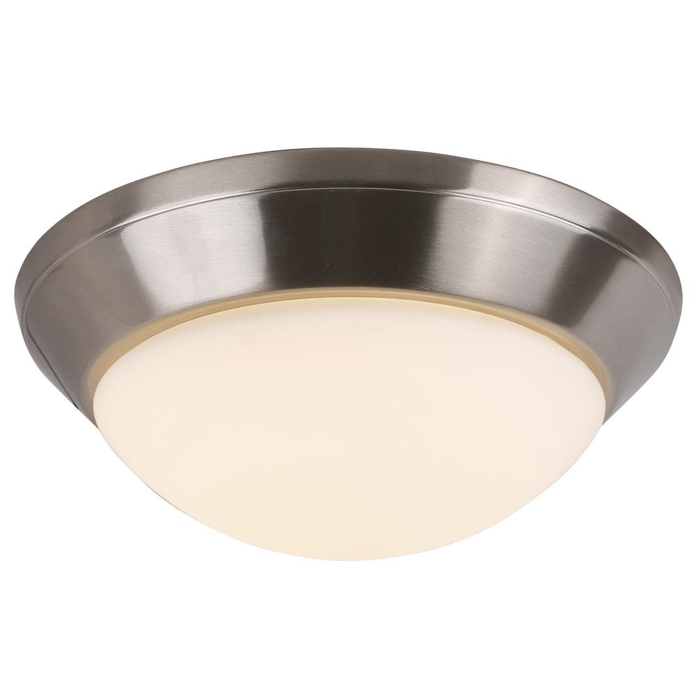 sneakers for cheap d97a2 eb7ca 1-Light Integrated LED Flush Mount Ceiling Light in Brushed Nickel