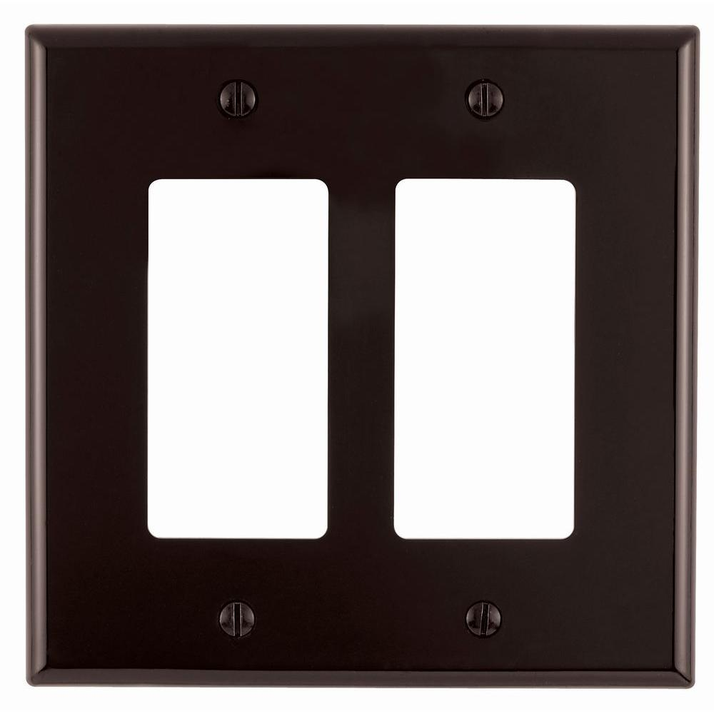 Leviton Decora 2-Gang Midway Nylon Wall Plate, Brown-R50-PJ262-000 ...