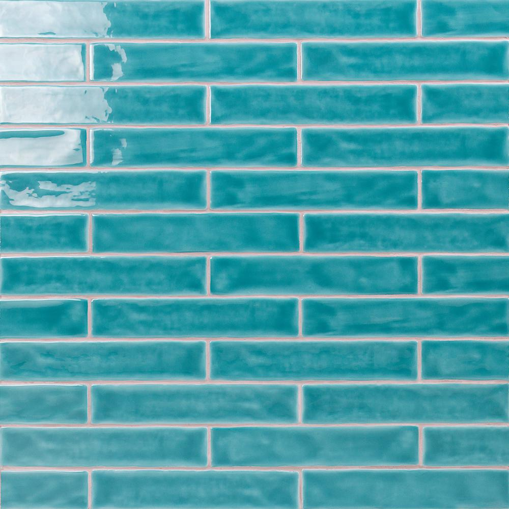 Ivy Hill Tile Newport Turquoise 2 in. x 10 in. x 11mm Polished Ceramic Subway Wall Tile (40 pieces / 5.38 sq. ft. / box)