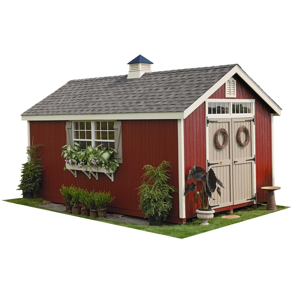 Colonial Williamsburg 32 ft. x 32 ft. Wood Storage Shed DIY Kit with Floor Kit