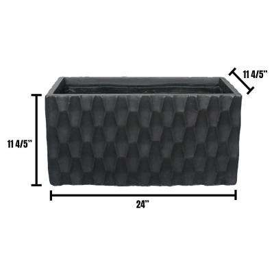 Large 12 in. x 12 in. x 24 in. Black Lightweight Concrete Modern Rectangle Planter