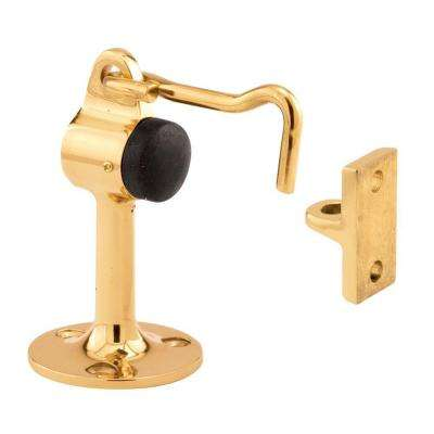2-1/8 in. Polished Solid Brass Door Floor Stop with Holder