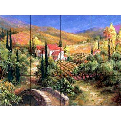 Tuscan Bridge 17 in. x 12-3/4 in. Ceramic Mural Wall Tile
