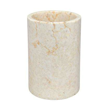 Natural Champagne Marble Inverary Tumbler Toothbrush Holder, Bathroom Countertop Organizer