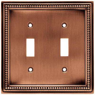 Beaded Decorative Double Switch Plate, Aged Brushed Copper