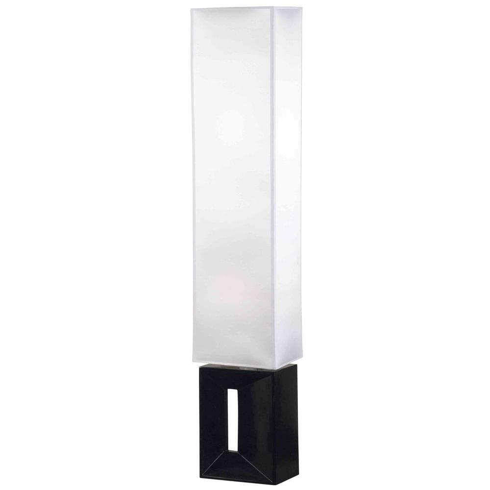 Kenroy Home Niche 51 in. Black Base with White Rectangular Shade Floor Lamp-DISCONTINUED