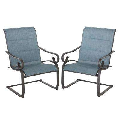 Crestridge Chocolate Brown Rocking Padded Sling Outdoor Lounge Chair in Conley Denim (2-Pack)