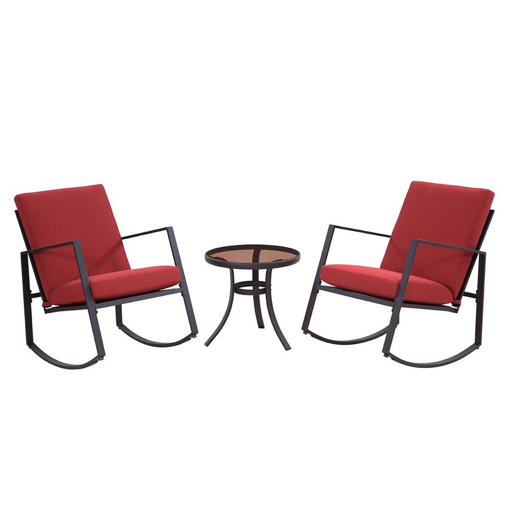 Liberty Garden Aurora 3 Piece Metal Outdoor Rocking Chair Set With Red Cushions
