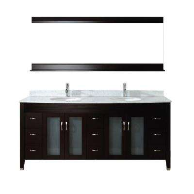 Alba 75 in. Vanity in Chai with Marble Vanity Top in Chai and Mirror