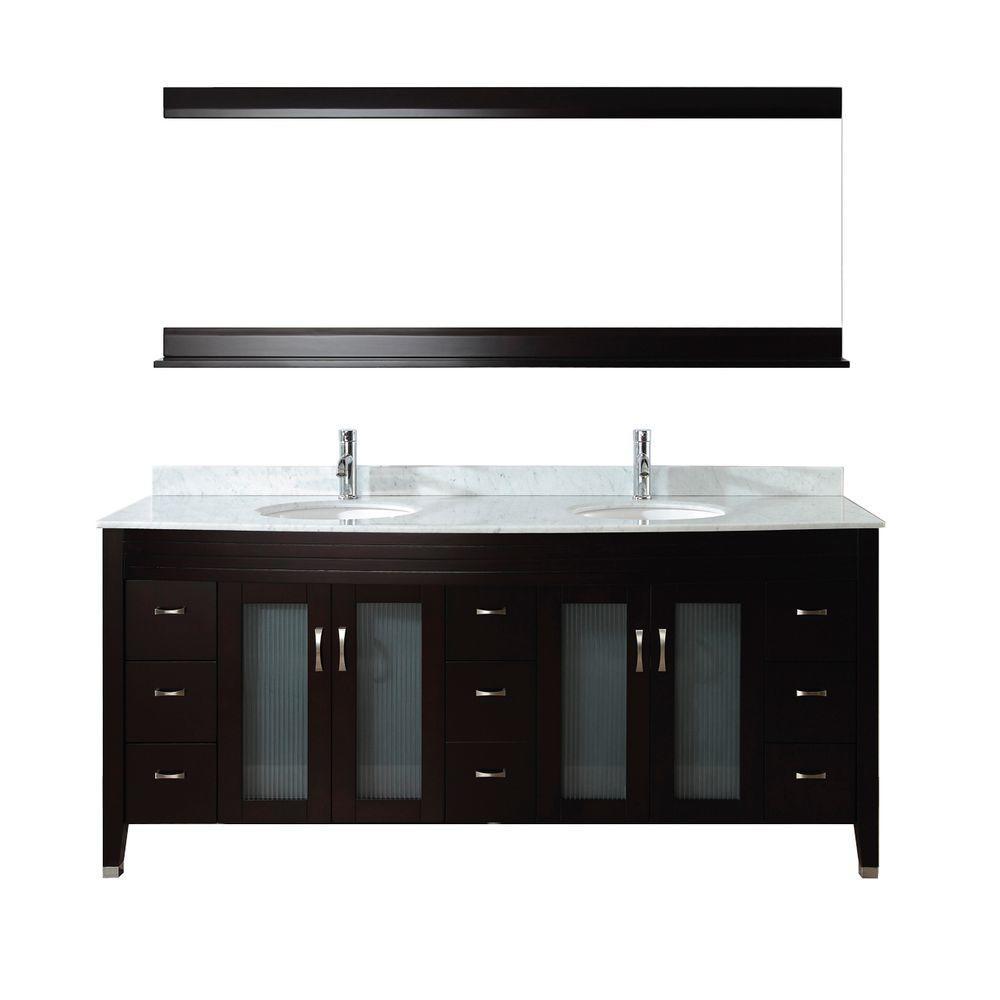 Alba 75 in. Vanity in Chai with Marble Vanity Top in