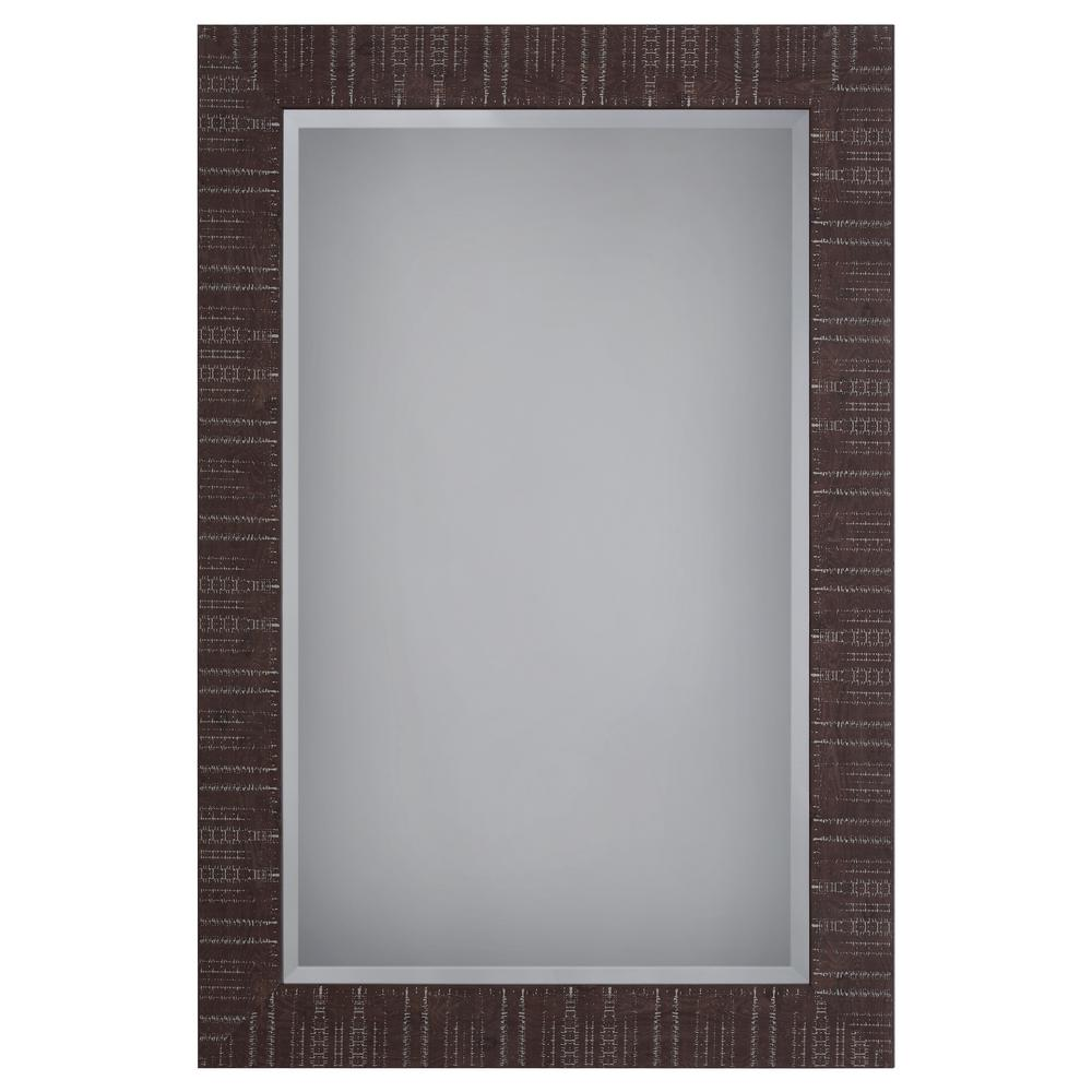 Yosemite Home Decor Wooden Framed Mirror in Brown Texture Finish ...