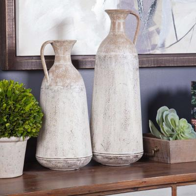 2-Piece White Metal Roma Pitcher Vase Set