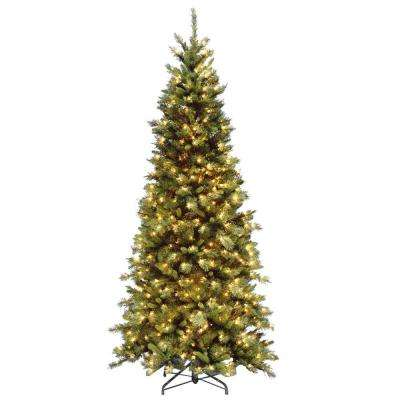7.5 ft. Tiffany Fir Slim Artificial Christmas Tree with Clear Lights - 7.5 Ft - Pre-Lit Christmas Trees - Artificial Christmas Trees - The