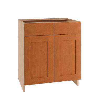 Elice Ready to Assemble 30 x 34.5 x 24 in. Sink Base Cabinet with 2 Soft Close Doors and 2 False Drawer Fronts in Cumin
