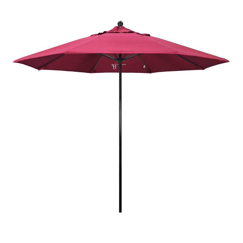 9 ft. Fiberglass Market Push Lift Patio Umbrella in Hot Pink Sunbrella