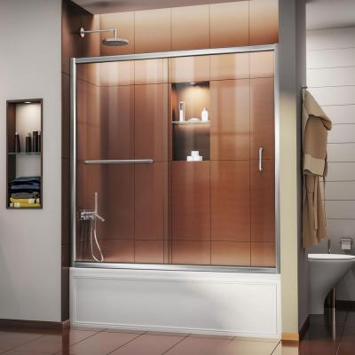 Infinity-Z 56 to 60 in. x 58 in. Semi-Frameless Sliding Tub Door in Chrome
