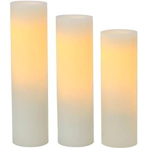 Cream Plastic Slim Pillar LED Flameless Candle (3-Pack)