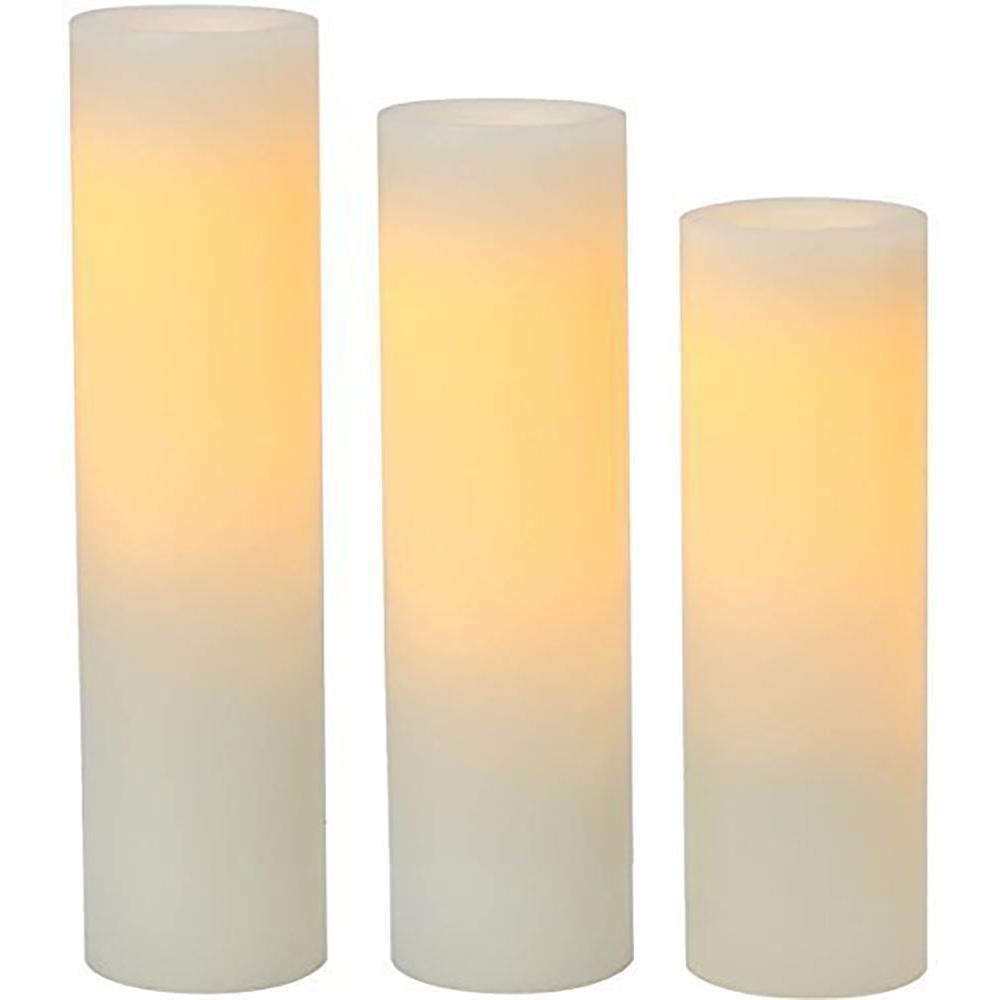 Cream Plastic Slim Pillar LED Flameless Candle (3-Pack)
