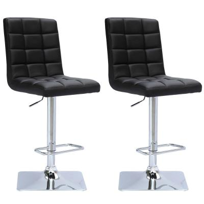 Adjustable Height Black Bonded Leather Swivel Bar Stool (Set of 2)