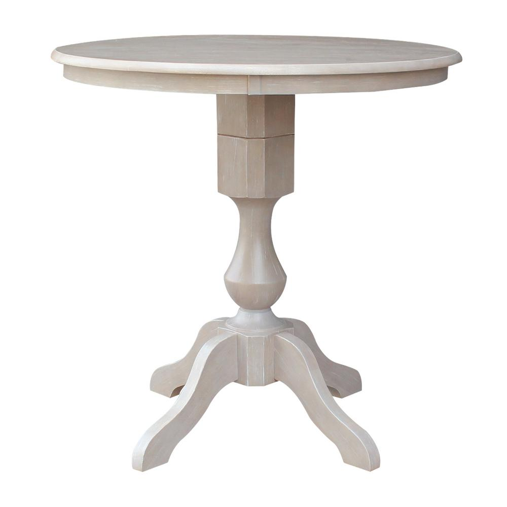 In H Weathered Gray Round Sophia Pedestal TableKRTP - Round pedestal dining table gray