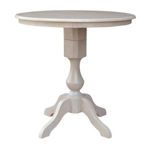 36 in. H Weathered Taupe Gray Round Sophia Pedestal Table
