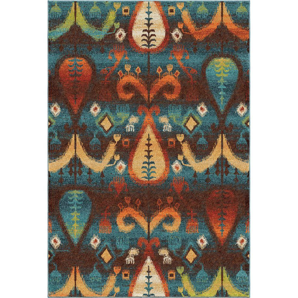 Orian Rugs Native Stories Blue Southwestern Bright Colors 5 Ft 3 In X 7 6 Indoor Area Rug 355079 The Home Depot