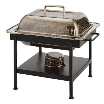 15 in. x 12 in. x 15 in. 4 Qt. Rectangular Antique Copper Hammered Chafing Dish