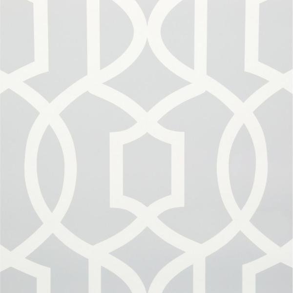 NuWallpaper 30.75 sq. ft. Grey Grand Trellis Peel and Stick Wallpaper