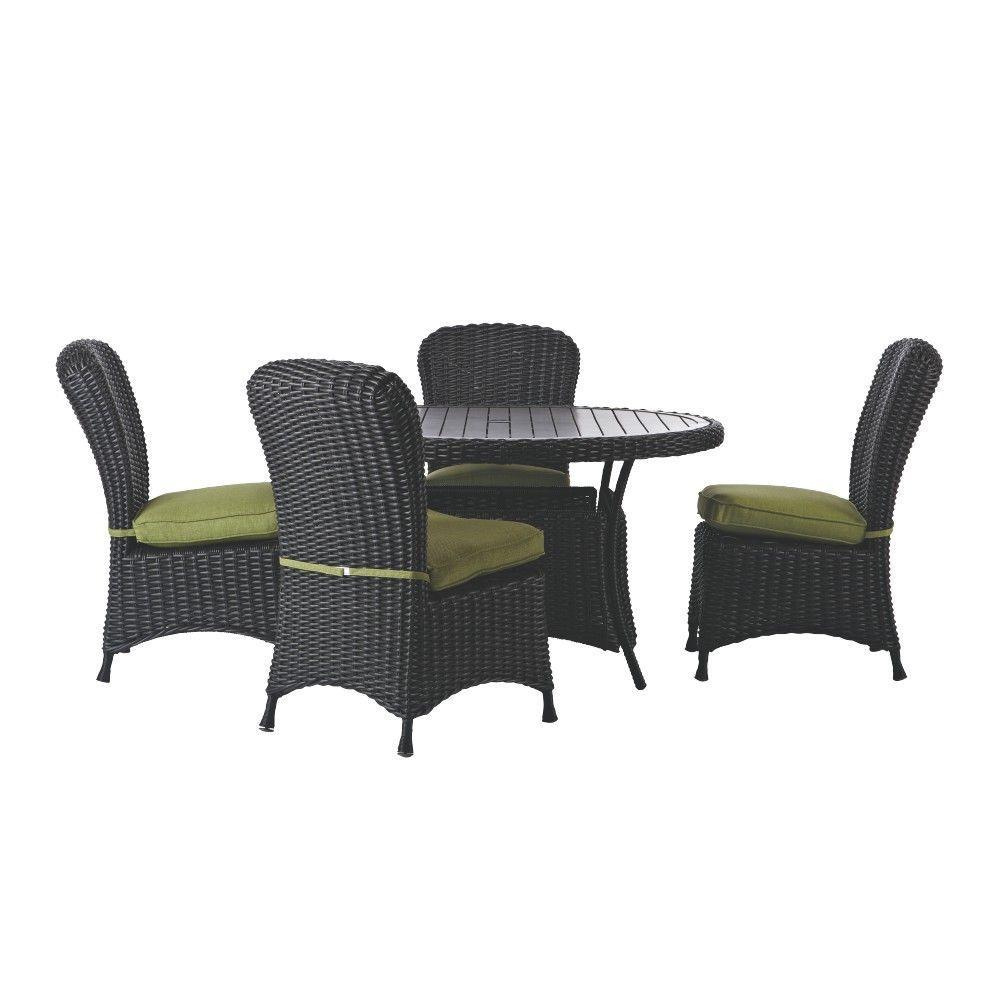 Martha Living Lake Adela Charcoal 5 Piece Patio Dining Set With Cilantro Cushions