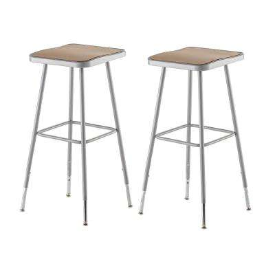 32 in. to 39 in. Height Adjustable Grey Heavy Duty Square Seat Steel Stool (2-Pack)