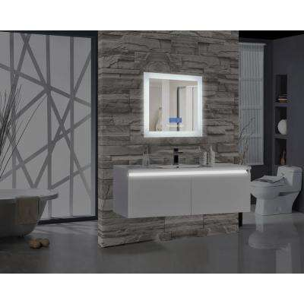 Encore BLU102 24 in. W x 27 in. H Rectangular LED Illuminated Bathroom Mirror with Bluetooth Audio Speakers