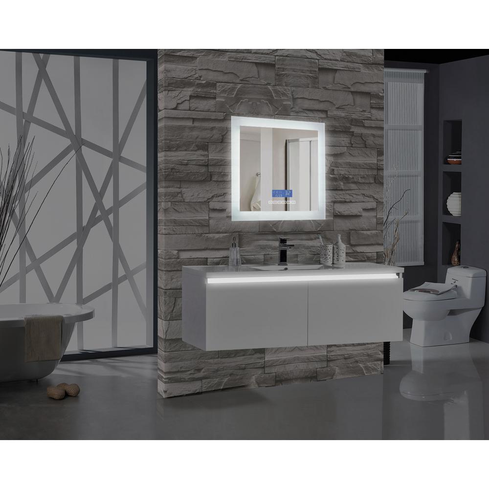 Encore BLU102 24 inch W x 27 inch H Rectangular LED Illuminated Bathroom Mirror with Bluetooth Audio Speakers by