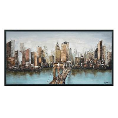 """New York and Cityscape in. Black Wooden Floating Frame Hand Painted Acrylic Wall Art 55 in. x 28 in."