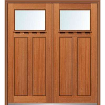 72 in. x 80 in. Shaker Right-Hand Inswing 1-Lite Clear Low-E Stained Fiberglass Fir Prehung Front Door with Shelf