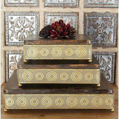 Metallic Gold Square Decorative Trays with Circular Details (Set of 3)
