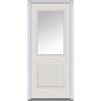 36 in. x 80 in. Left-Hand Inswing 1/2-Lite Clear 1-Panel Classic Planked Primed Fiberglass Smooth Prehung Front Door