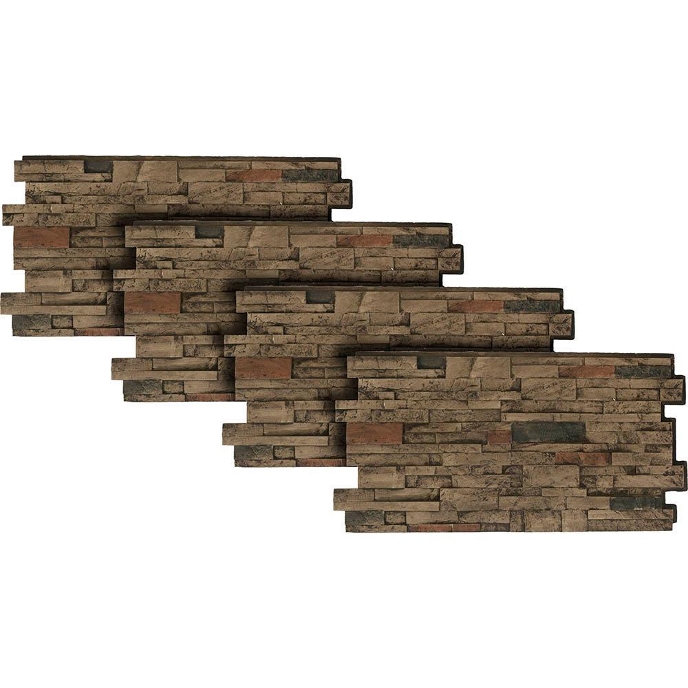 Urestone Stacked Stone #25 Mocha 24 in. x 48 in. Stone Veneer Panel (4-Pack)
