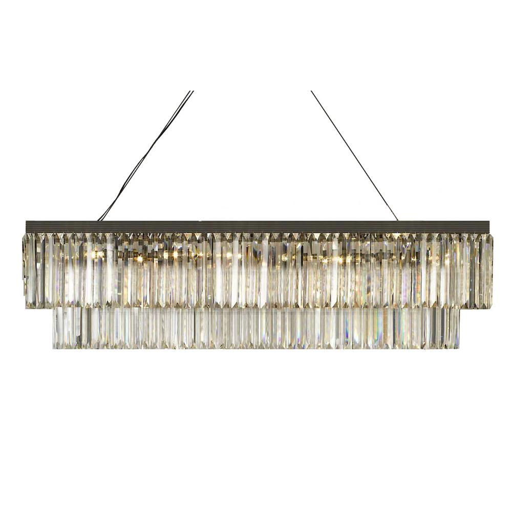 Harrison Lane Retro Palladium 10 Light Gray Gl Fringe Rectangular Chandelier