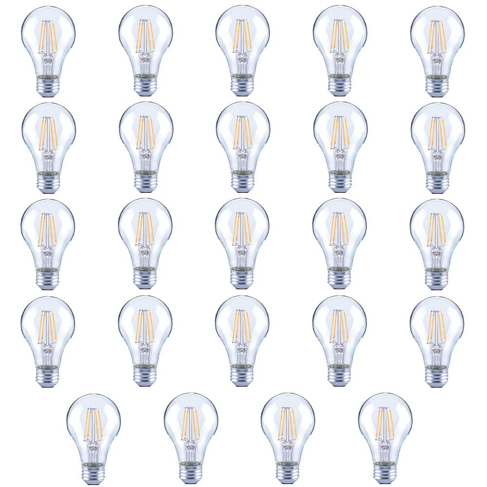 40-Watt Equivalent A19 Clear Glass Filament Dimmable LED Light Bulb Soft