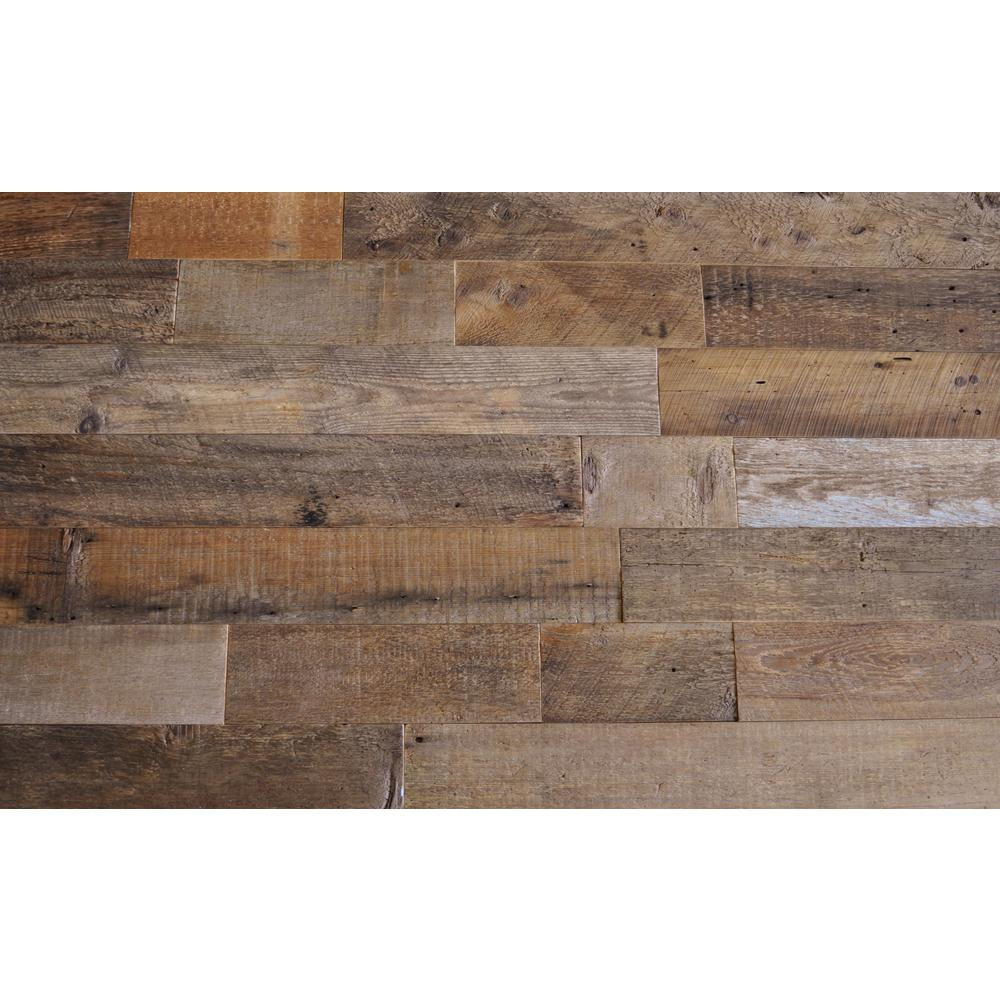 Reclaimed barn wood brown sealed 3 8 in thick x 5 5 in for Reclaimed flooring
