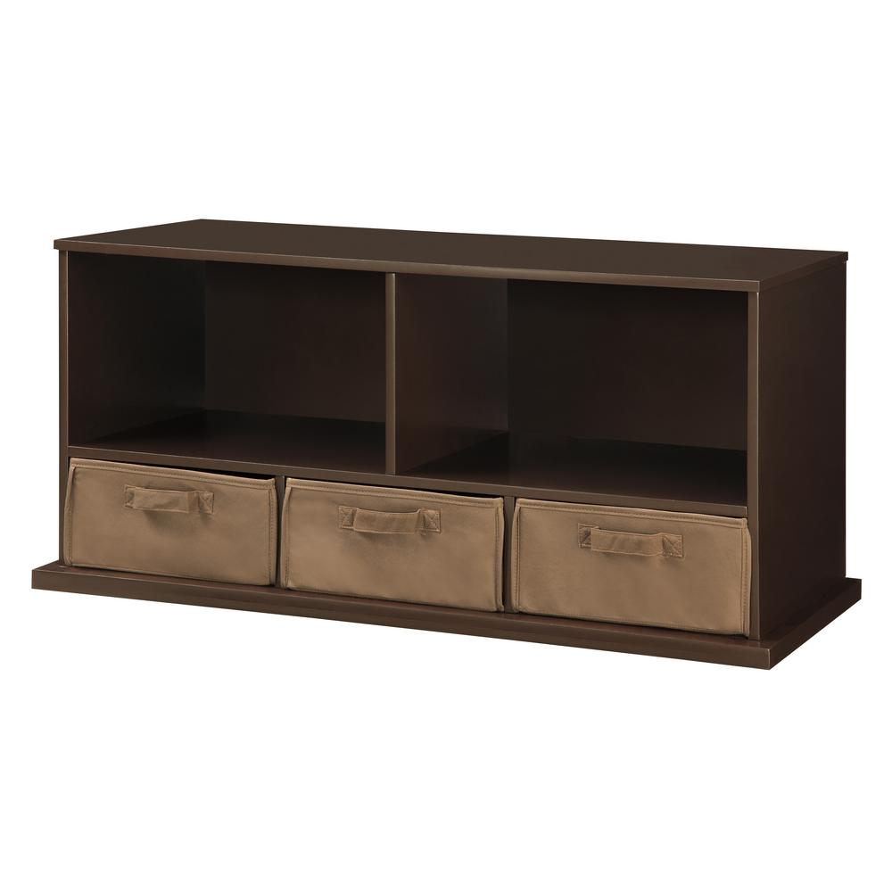 D Espresso Stackable Shelf Storage Cubbies With 3 Baskets