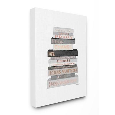 """24 in. x 30 in. """"Neutral Grey and Rose Gold Fashion Bookstack"""" by Amanda Greenwood Canvas Wall Art"""