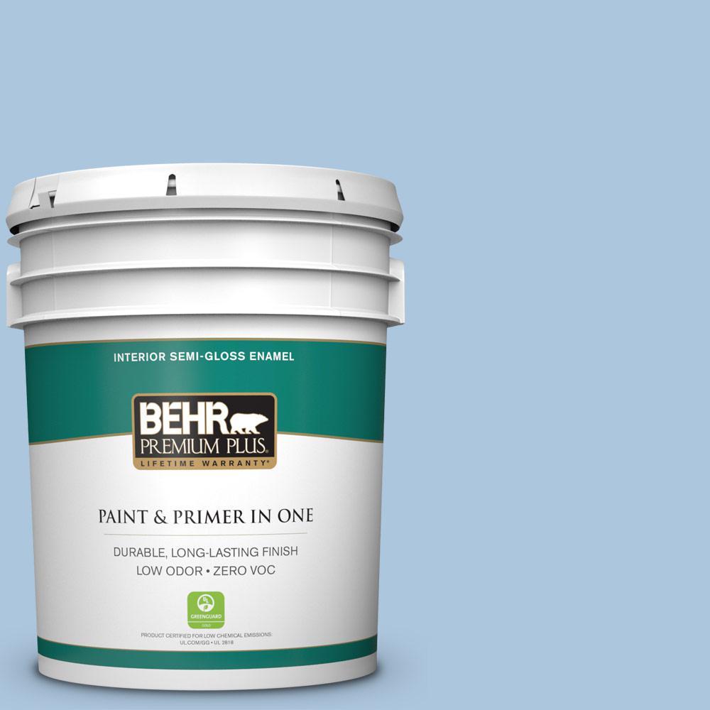 5 gal. #PPU14-13 Caspian Tide Zero VOC Semi-Gloss Enamel Interior Paint