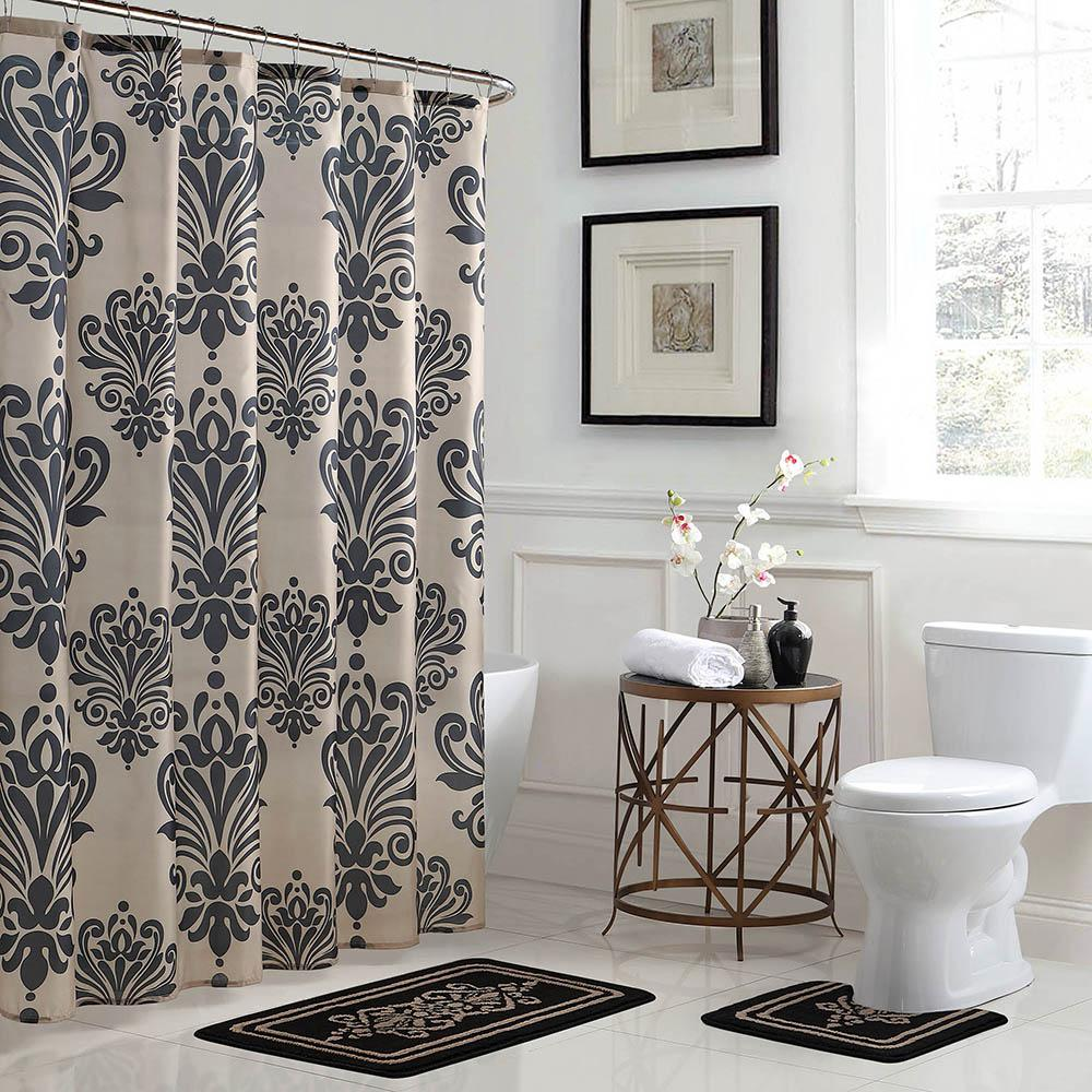 Bath Fusion Reverly Damask 18 In X 30 Rug And 72