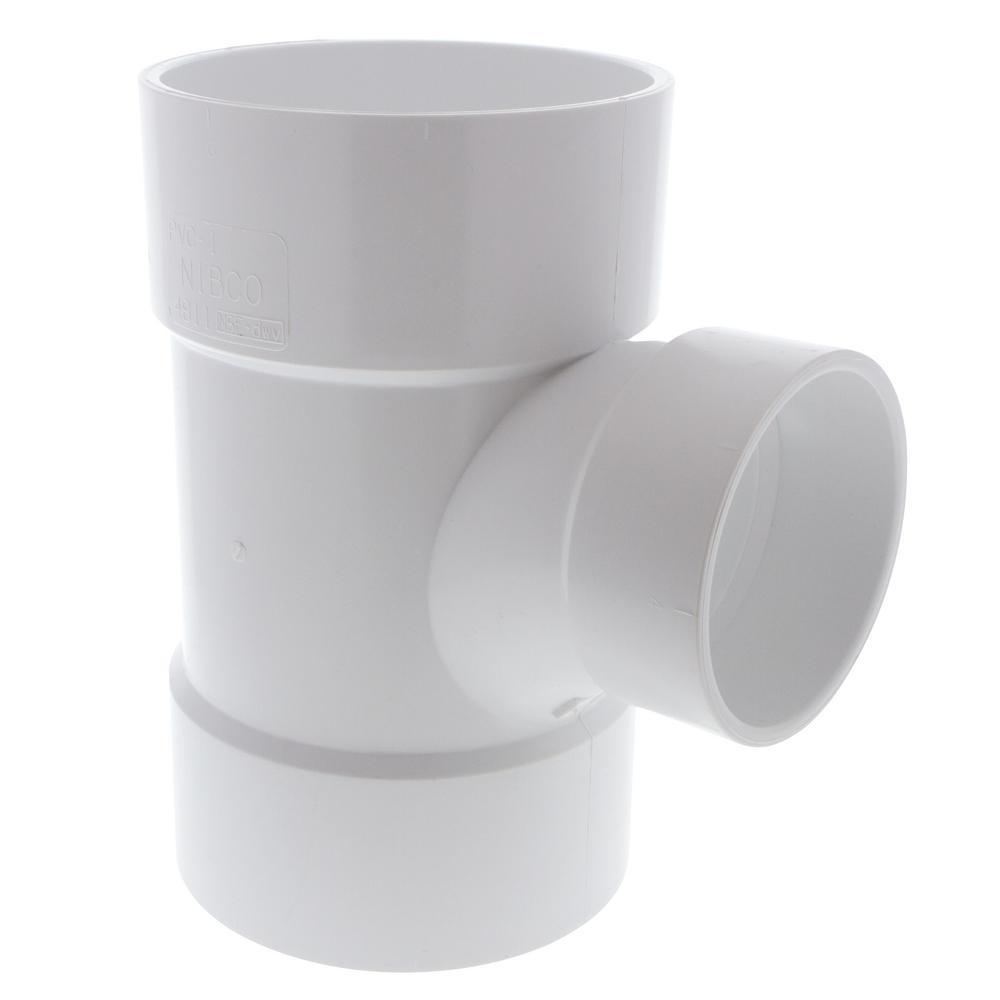 6 in. x 6 in. x 4 in. PVC DWV Hub x Hub x Hub Sanitary Reducing Tee