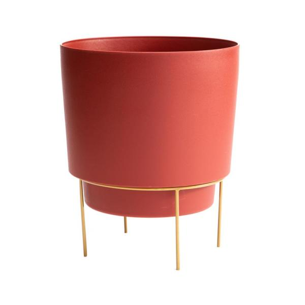 Hopson Medium 10 in. Burnt Red Plastic Planter with Metal Gold Stand