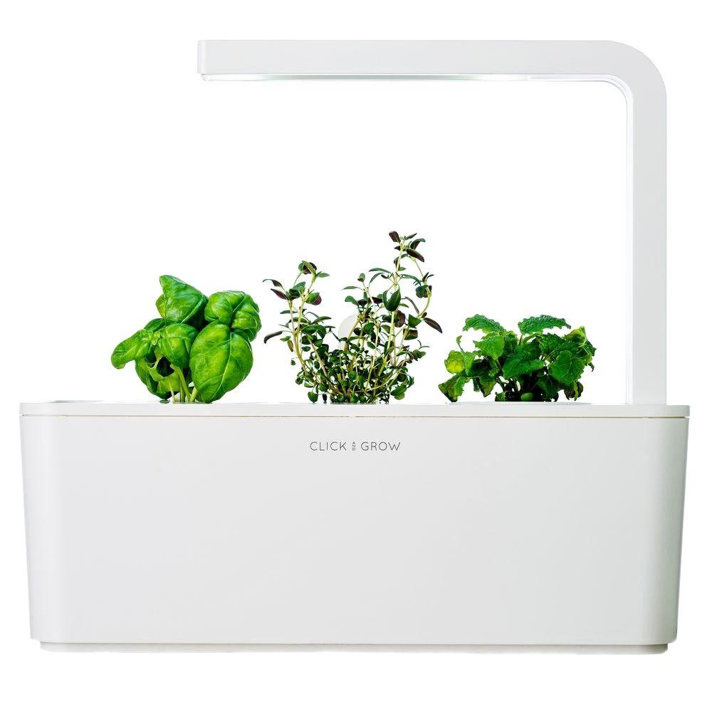 Click and Grow Smart Herb Garden with Basil, Thyme and Lemon Balm Indoor Culinary Herb Grow Kit (LED Grow Light Included)