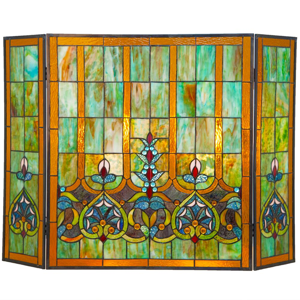 River of goods multi colored stained glass 3 panel webbed for Coloured glass panels
