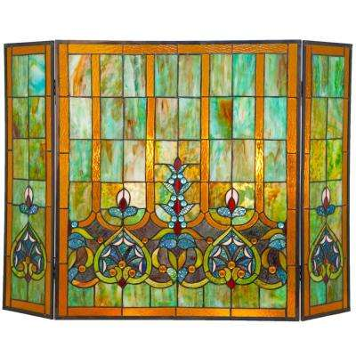 Multi-Colored Stained Glass 3-Panel Webbed Heart Fireplace Screen